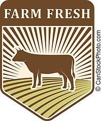 Nature fields retro farm label organic food production design agriculture symbol vector.