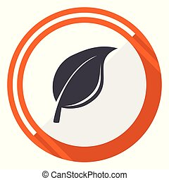 Nature flat design vector web icon. Round orange internet button isolated on white background.