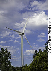 nature., floresta, acima, dossel, tecnologia, turbina, vento