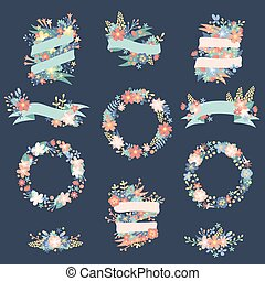 Nature flowers wreath with flowers, foliage ribbons. ...