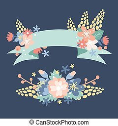 Nature flowers wreath with flowers, foliage ribbons....