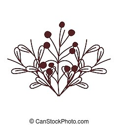 nature foliage leaves and berries isolated icon design line style