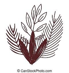 nature foliage leaves decoration isolated icon design line style