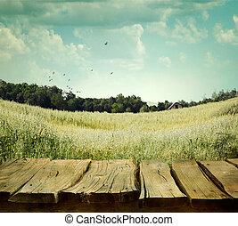 nature, fond, à, bois, planches