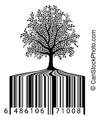 Nature for sale - Illustration of a tree with bar-code roots