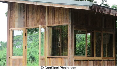 Nature friendly cottage in raining day