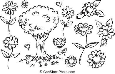 Nature Garden Sketch Doodle Vector Set