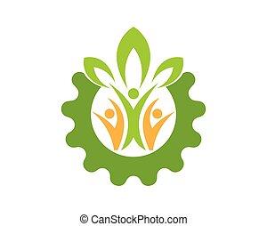 nature, gens, santé, logo, vecteur, gabarit