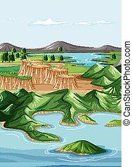 Nature geographic landscape vector illustration