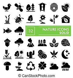 Nature glyph icon set, environment symbols collection, vector sketches, logo illustrations, conservation signs solid pictograms package isolated on white background, eps 10.
