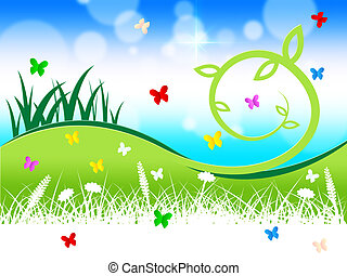 Nature Grass Indicates Butterflies Outdoors And Animals