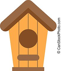 Handcrafted wooden hut with roof for birds, safe from cold and wind protection nesting box flat.