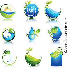 Nature healing symbols. Water, leafs, waves and fields. ...