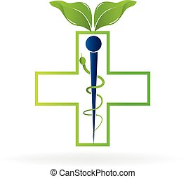 Nature health caduceus symbol logo