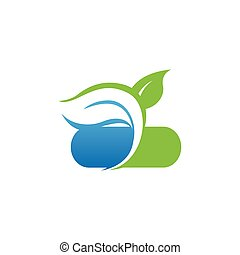 Nature health herbal medicine pharmacy logo design image vector template