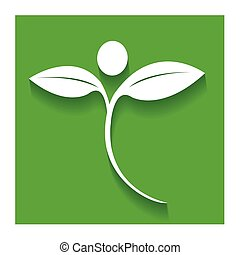 Nature healthy people icon flat logo