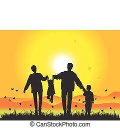 nature, heureux, coucher soleil, famille, promenades