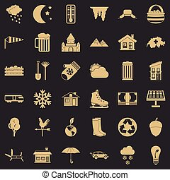 Nature house icons set, simple style