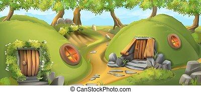 nature, house., illustration, conte, vecteur, village., lutin, fée, paysage