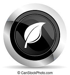 nature icon, black chrome button, leaf sign