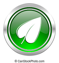 nature icon, green button, leaf symbol