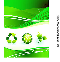 Nature Icons on Abstract Internet Background