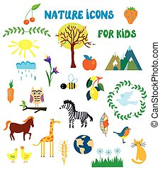 Nature icons set for kids