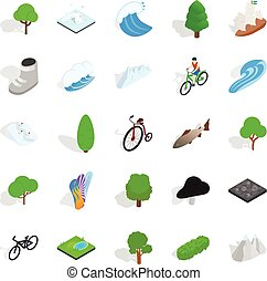 Nature icons set, isometric style
