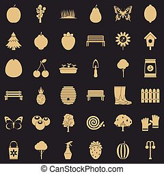 Nature icons set, simple style