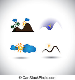 nature icons vector set - mountains, sunsets, sky & sunrises