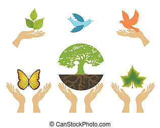 Nature Icons with hands. Vector set