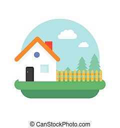 nature, illustration, vecteur, village, maison, paysage