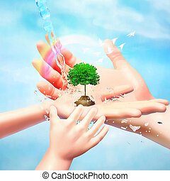 Nature in human hand. The concept of environmental protection. Template for your design with hands, tree, birds, water jets and rainbow.