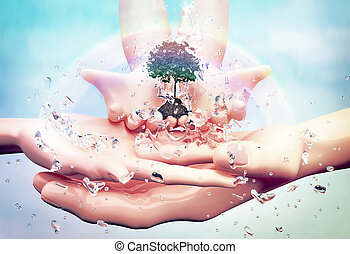 Nature in human hand. The concept of environmental protection. Template for your design with hands, tree, water jets and rainbow.