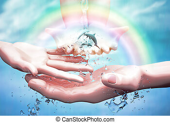 Nature in human hand. The concept of environmental protection. Template for your design with hands, ocean, dolphins, water jets and rainbow.