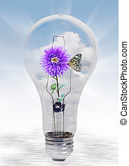 Nature in light bulb - Butterfly on a dahlia in light bulb