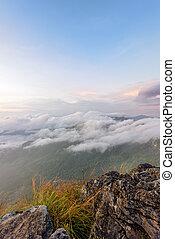 Nature in sunrise on mountain, Thailand