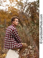 nature, jeune, automne, type, jour, beau