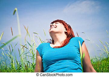 nature, jeune, joli, sourire, herbe, girl