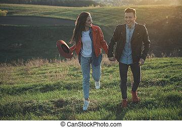 nature, joyeux, regarder, fille souriant, petit ami