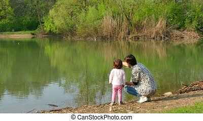 Nature Lake Woman Mother Mom Child