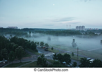 Nature landscape at morning in the city in foggy day with dramatic sky and forest. Fog as smog