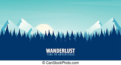 Nature landscape background with silhouettes of mountains and trees. Vector Illustration.