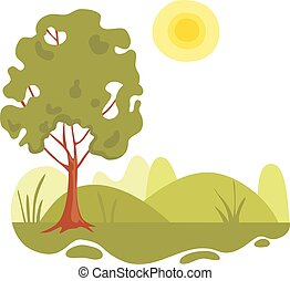 Nature landscape field icon, cartoon style