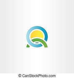 nature landscape icon letter q logo