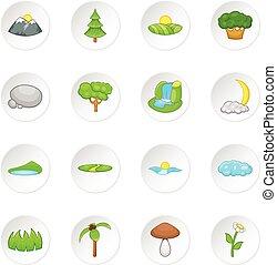 Nature landscape icons set, cartoon style