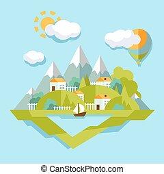 Nature landscape illustration. Colorful, vector  flat style.