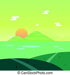 Nature landscape in morning with sun and mountain background vector illustration