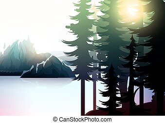 Nature landscape, mountain forest and lake.