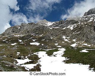 nature; landscape; mountains; top; snow; glacier; cloud